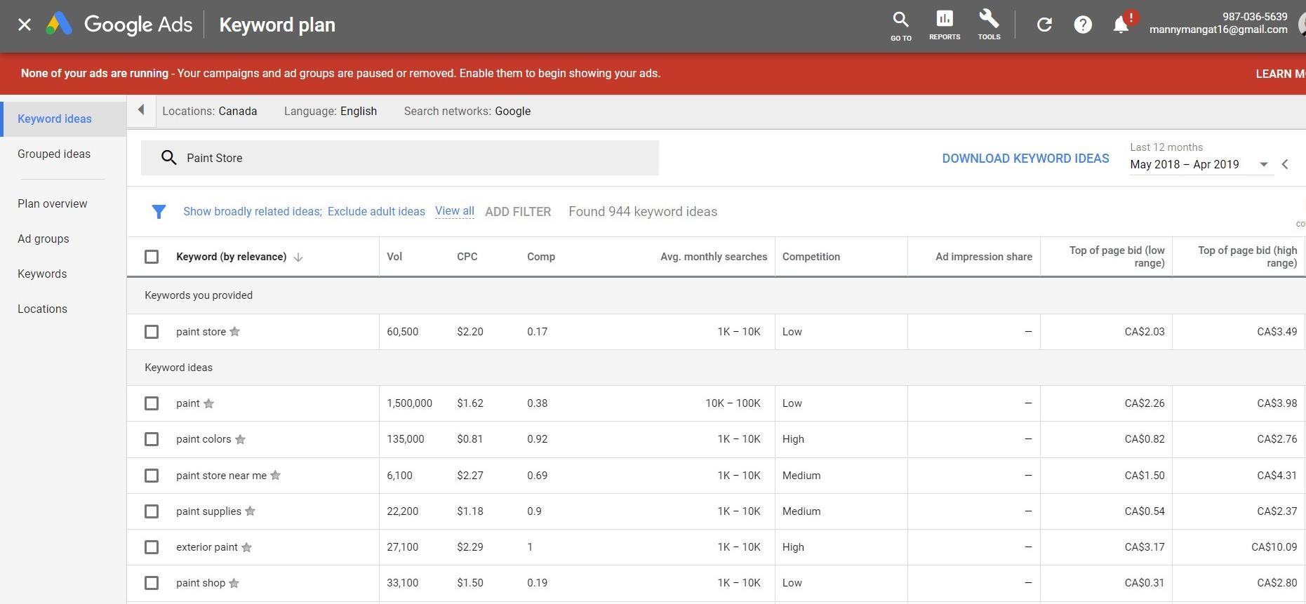 google keyword planner keyword list
