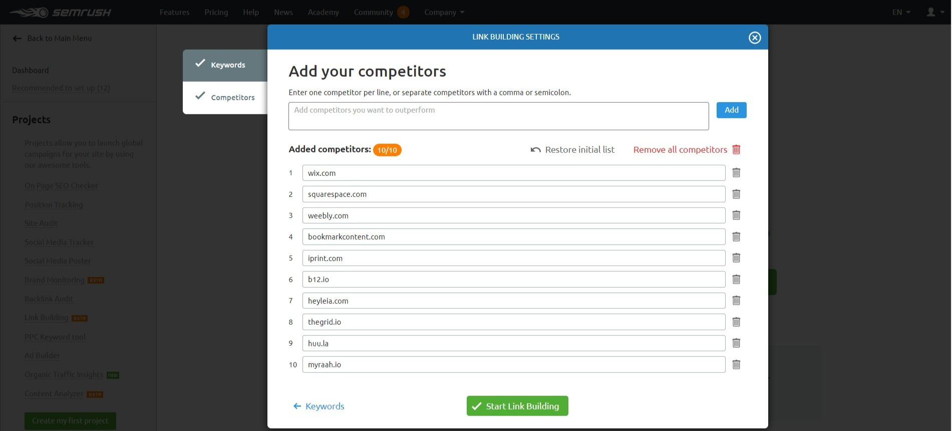 Link Building Tool Competition – SEMrush