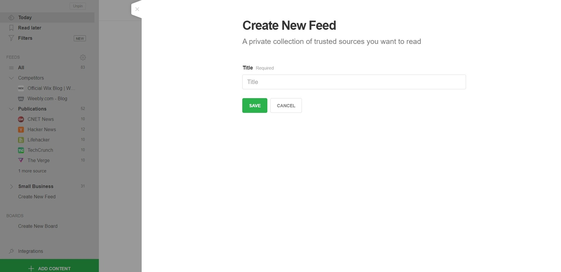 feedly create feed