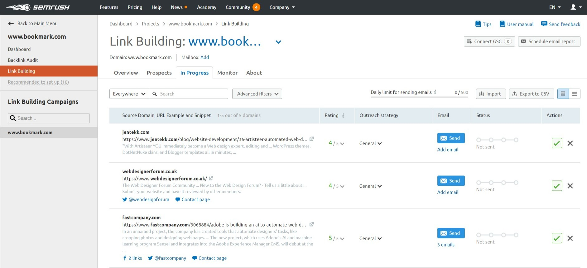 Link Building Tool In Progress - SEMrush