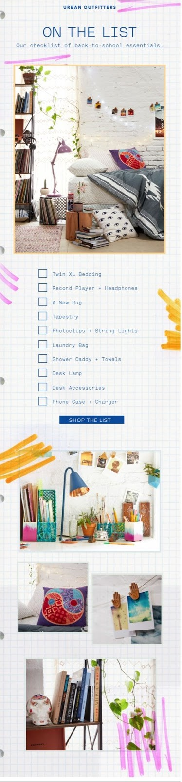 email newsletter template Urban Outfitters