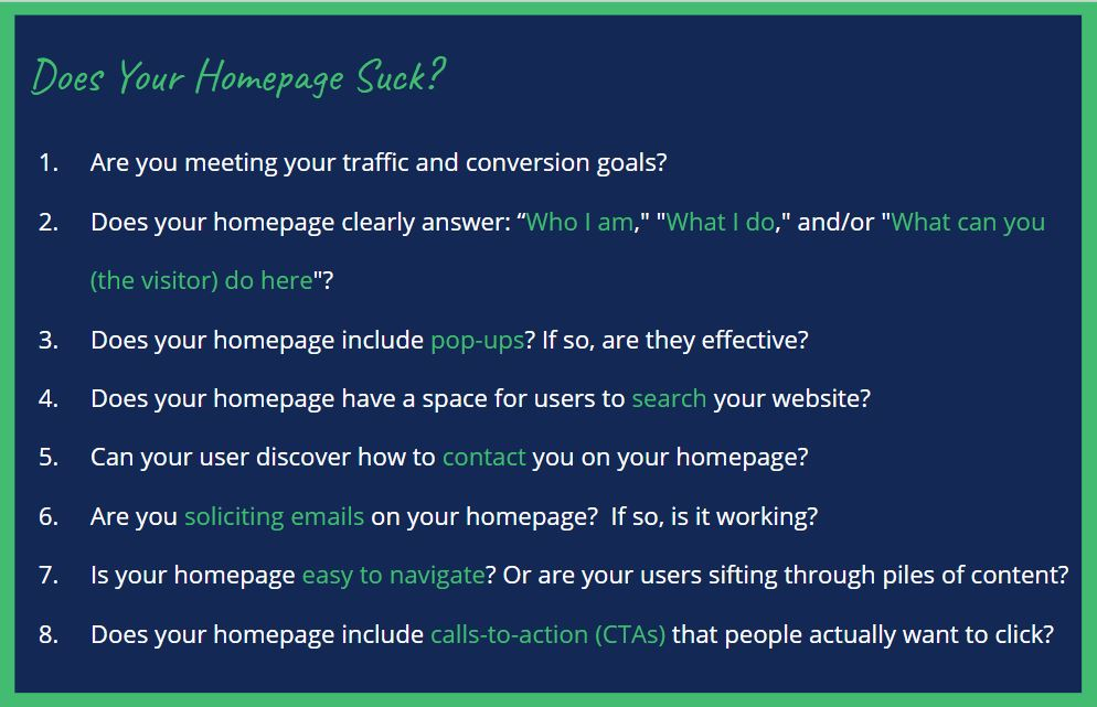 homepage improvement guidelines
