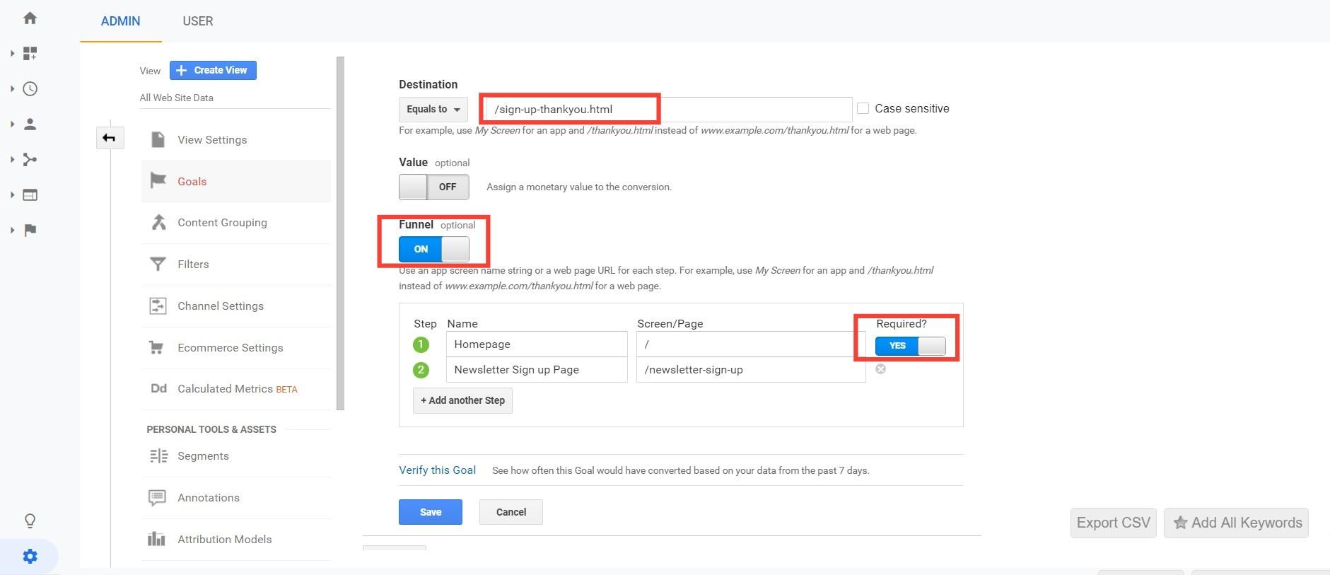 Google Analytics funnel goal details