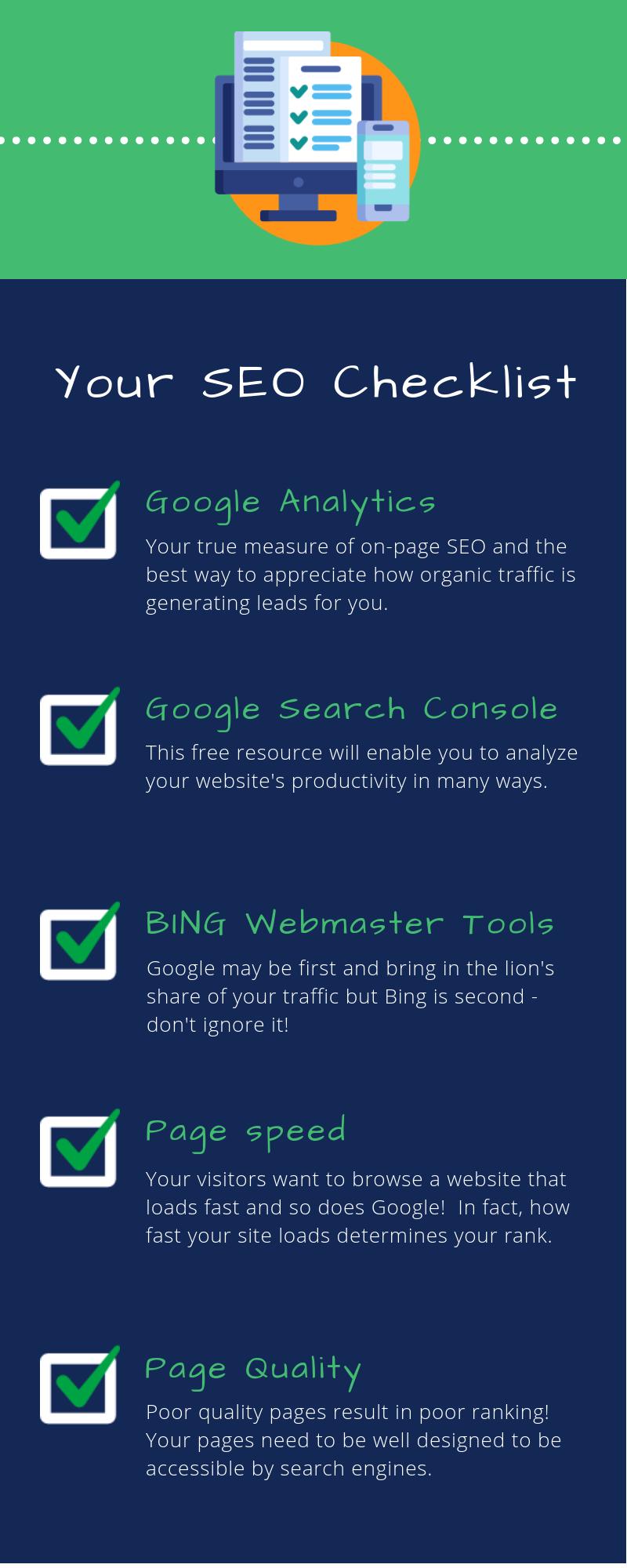 Checklist for SEO optimization