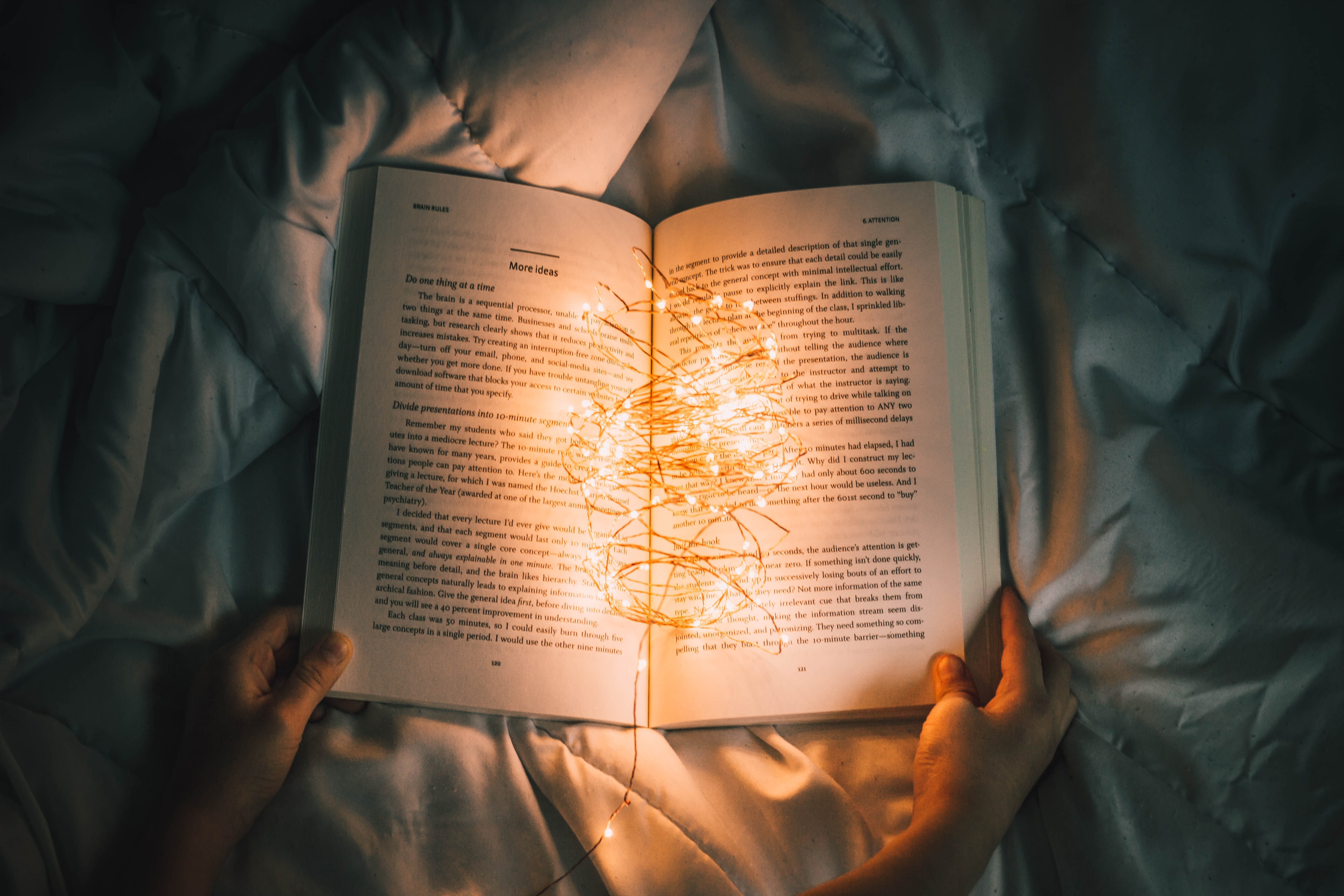 reading a story with magical lights